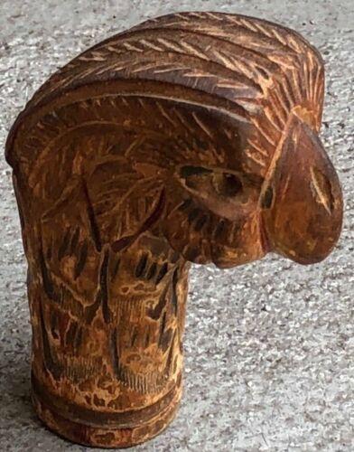 VINTAGE CARVED WOOD CANE PARROT HEAD