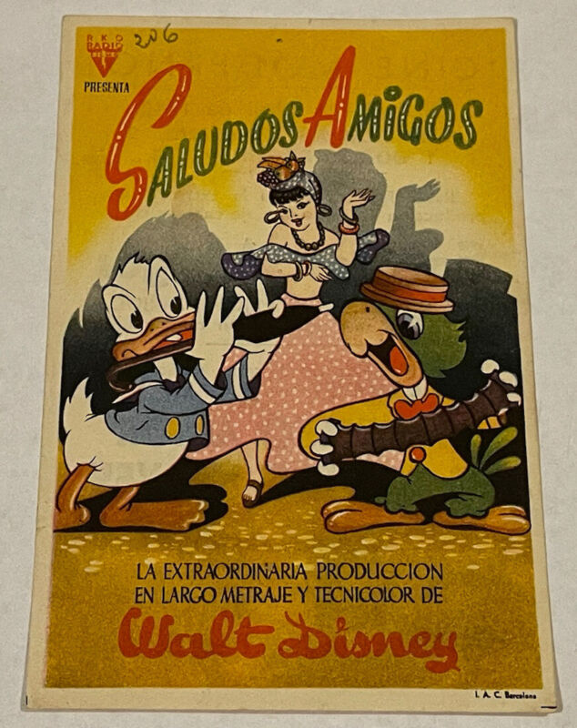 Original 1944 SALUDOS AMIGOS Spanish Movie Herald, 3 1/2 x 5 1/2