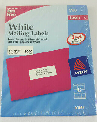 1 Box Of 3000 Avery 516062408160 Address Mailing Shipping Labels 1 X 2 58