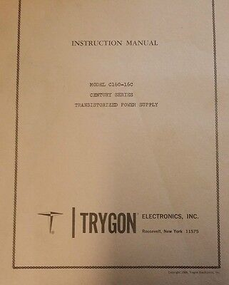 Trygon Model C60-16c Century Series Power Supply Instruction Manual R3-s45