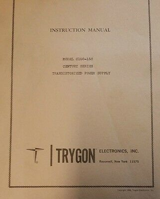 Trygon Model C60-16c Century Series Power Supply Instruction Manual R3-s45
