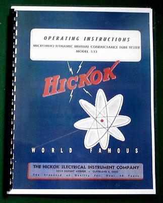Hickok 533 Instruction Manual Tube Charts