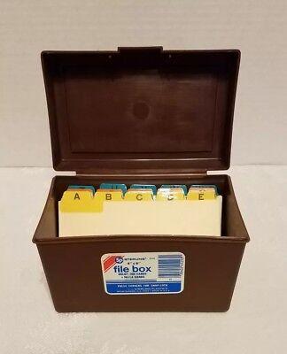 Vintage 1981 File Box Recipe Card Index Dividers Sterling Plastics 46 Usa