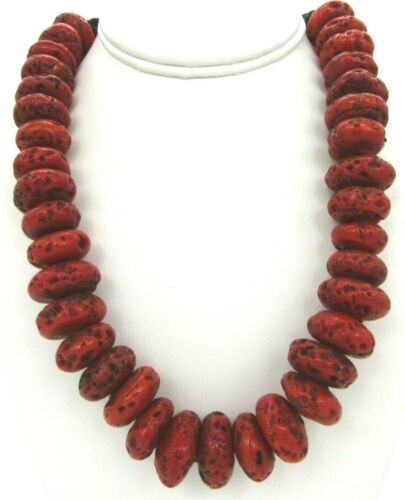 """Chunky Boho Tribal Faux Red Coral Glass Beads Heavy Nepal Necklace 18"""""""