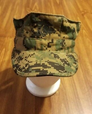 USMC Marine Corps cover UNIFORM hat Camo WOODLAND military militaria S digital