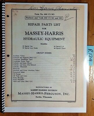 Massey Harris Ferguson Hydraulic Equip 44 Tractor Repair Parts List Manual 755