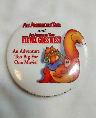 Vintage American Tail Fievel Goes West Button Badge Pin 1991