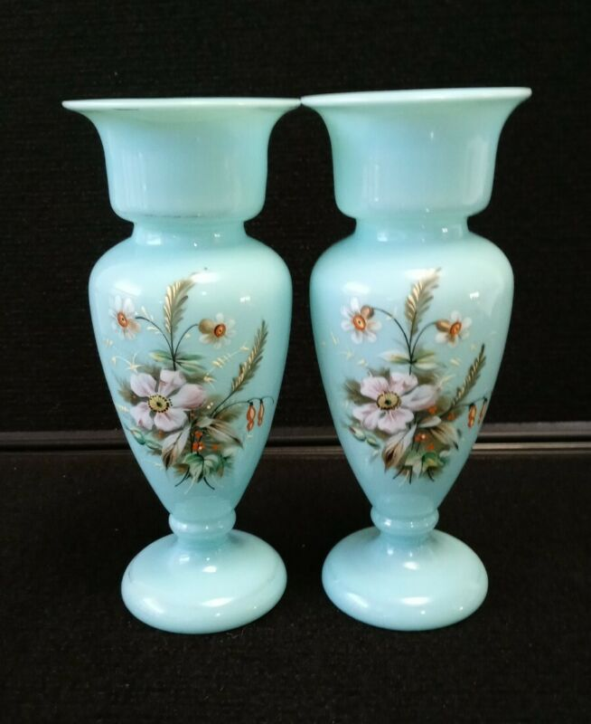 """FRENCH BLUE OPALINE Glass Pair of Vase Handpainted 7 7/8"""""""