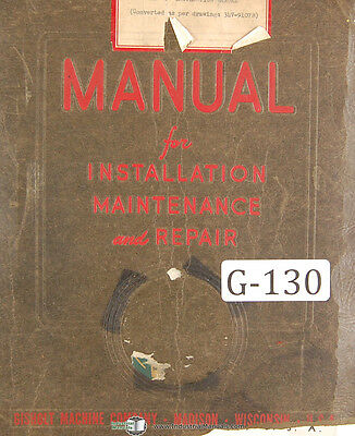 Gisholt Type S Balancing Machine Operators Maintenance Set Up Manual 1951