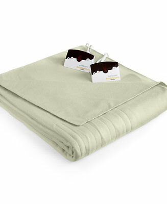 Biddeford Heated Blanket Comfort Knit Sage Green KING Fleece Electric Blanket