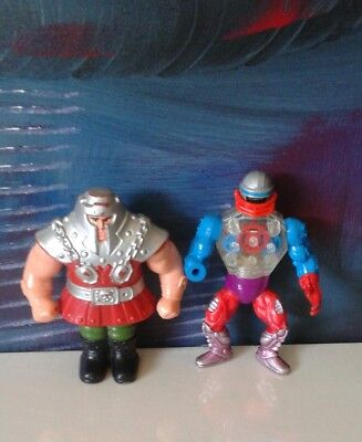 Lot Of 2 Vintage He-Man MOTU Hero Warrior Action Figures Roboto Ram-Man Mattel