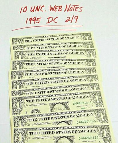 Lot of 10 RARE *Web Notes* 1995 DC 2/9  UNC