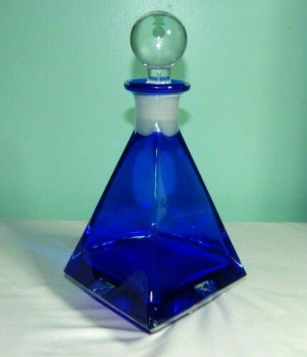 Beautiful Cobalt Blue Art Glass Diamond Shape Decanter w/ Ground Stopper
