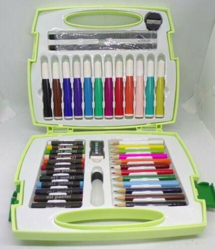 Art Set 42 Piece Artist Kit Pencils Pastels Markers Plastic Case New
