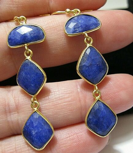 Beautiful Jewellery Sterling SILVER Natural Sapphire 19.03cts Gem Stone EARRINGS