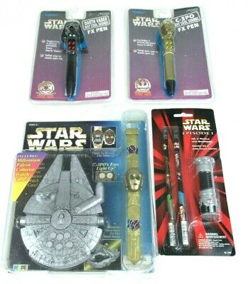 Star Wars C-3PO Watch & Pen Darth Vader Pen 2 Pencils w/ Light Saber Sharpener