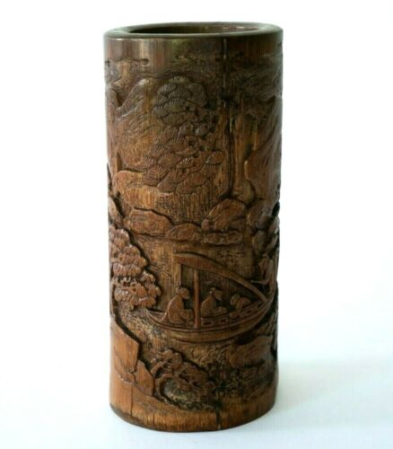 Antique Chinese Carved Bamboo Bitong Brush Pot - Bing Nan (Shi Yicheng) 1811