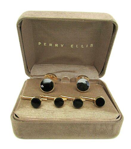 Perry Ellis Gold Tone Onyx Cuff Links Shirt Stud Set NEW Vintage