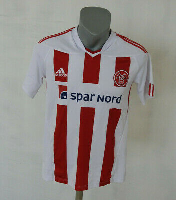 Aalborg BK Denmark 2010 - 2011 Home Jersey Adidas Size S Striped Shirt White Red image