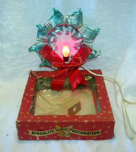 VINTAGE CHRISTMAS TINSEL LIGHT WREATH REFLECTOR