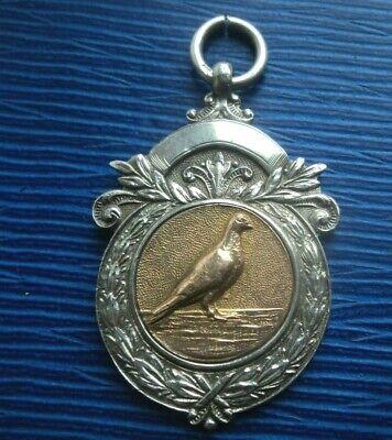 Vintage Sterling Silver & Gold PIGEON Fob Medal h/m 1925 Birmingham  - Guernsey