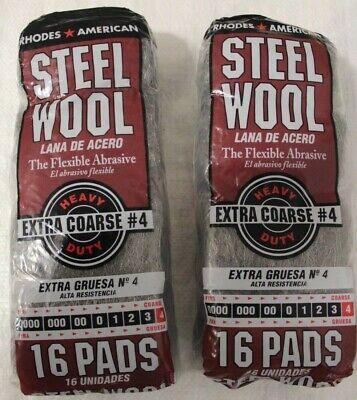 NEW 106107 Rhodes American Steel Wool #4 16 Pads 2 pk Rhodes Steel Wool