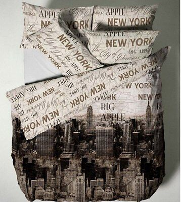 Double Cotton Rich New York Duvet Cover With Pillow Case Bedding Set - Neutral s