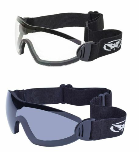 2 Z87 Motorcycle Goggles Skydive Padded Parasailing Smoke Clear Airsoft bike NWT