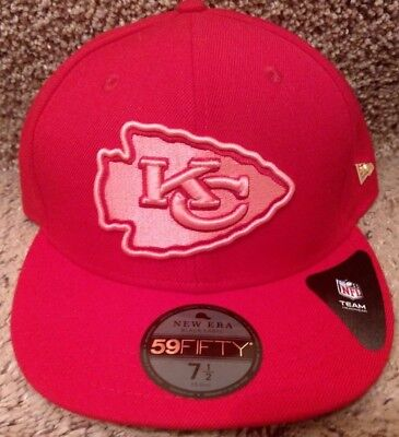 New Era Pink Kansas City Chiefs Essentials Fitted Hat Size 7 1/2 Flat