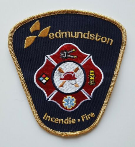 Edmundston New Brunswick Canada Fire Department gold patch, new condition