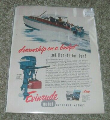 """VINTAGE EVINRUDE 1954 """"DREAMSHIP ON A BUDGET"""" ADVERTISEMENT FREE SHIPPING"""