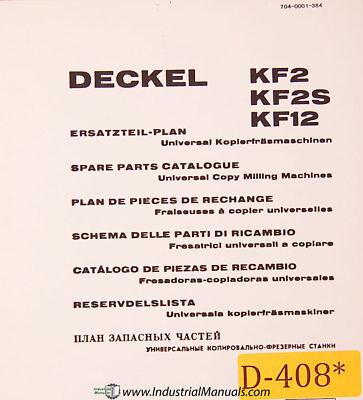 Deckel Kf2 Kf2s Kf12 Universal Copy Milling Spare Parts Manual 1970