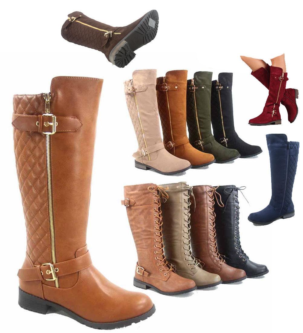 Women's Fashion Zipper Low Heel Riding Knee High Boots Shoes