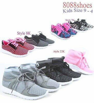 Youth Girl's Kid's Light Weight Flat Sneakers Casual Sport Shoes Size 9 - 4 NEW