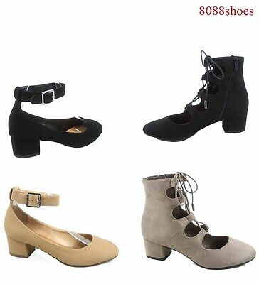 Women's Ankle Strap Round Close Toe Low Chunky Low Heel  Shoes Size 5 - 10 NEW