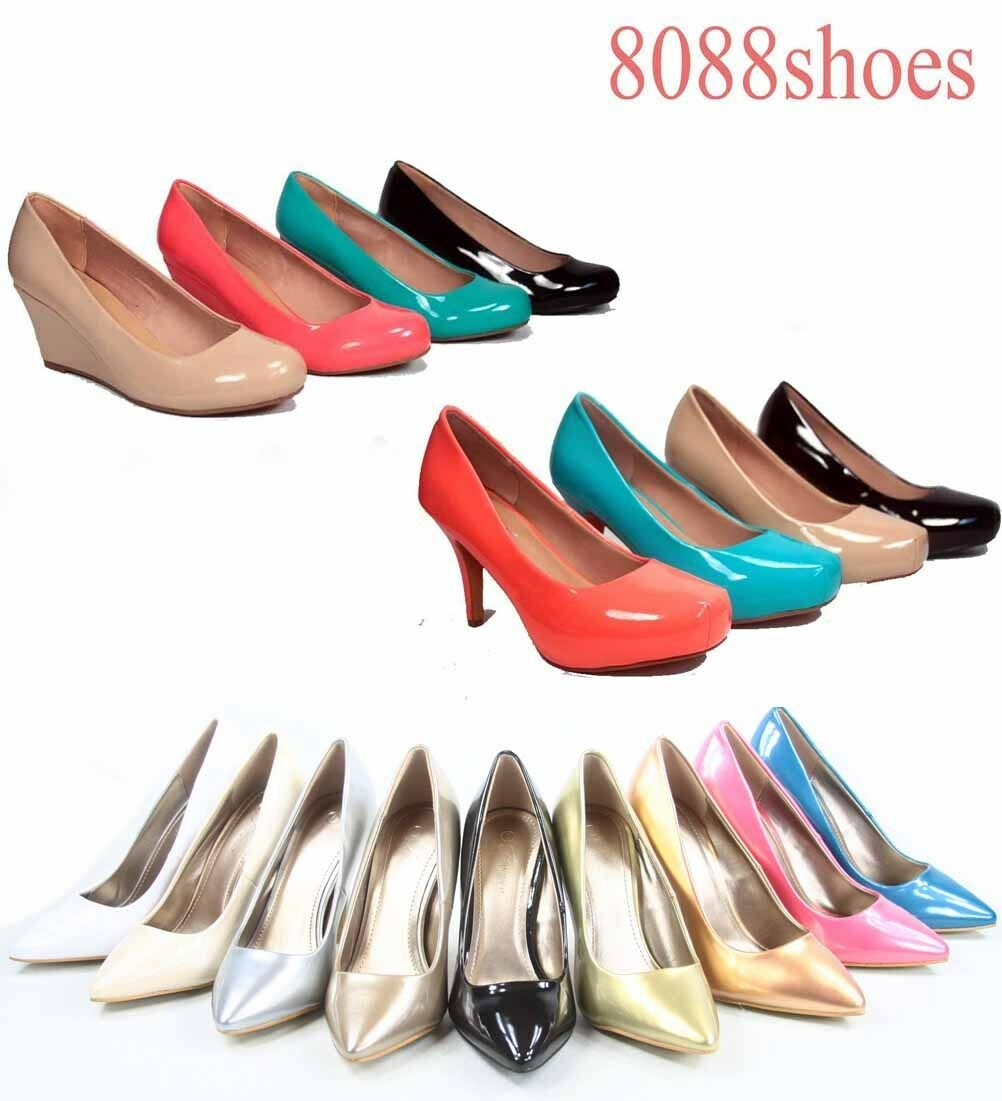 Women's sexy Patent  Closed Pointed Toe Pumps  Heels Wedge S