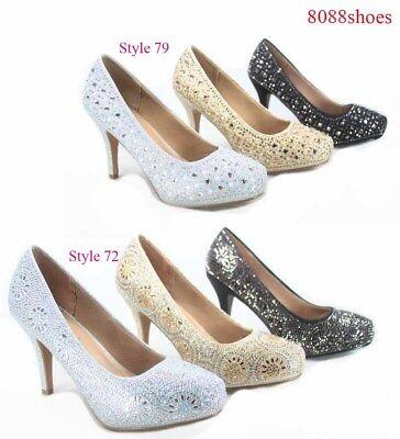 Women's Sexy Bridal Party Rhinestone Round Toe Stiletto Heel Shoes Size 5 - - 5 Heel