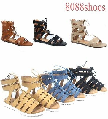 Women's Fashion Open Toe Lace Up Gladiator Flat Sandal Shoes Size 6 - 11 NEW