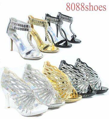 Women's Sexy Bridal Rhinestone Strappy High Heel Evening Sandal Shoes Size 5 -