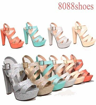 Women's Sexy Glitter Snake Strappy Chunk Heel Platform Sandal Size 5.5 - 11 NEW
