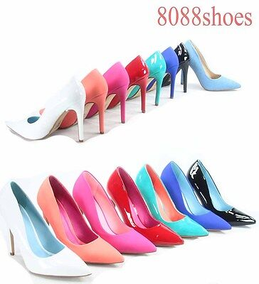Women's Bridal Sexy Color Pointed Toe Patent Pump Heels Shoes Size 5.5 - 11 NEW Patent Sexy Sandalen