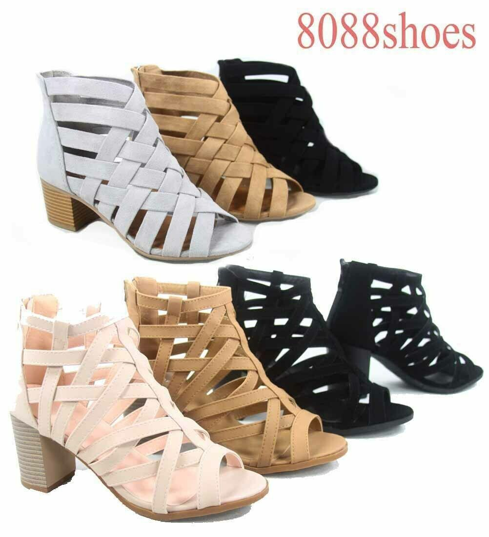 Women's Zip Strappy Open Toe Chunky High Wedge Heel Sandal S