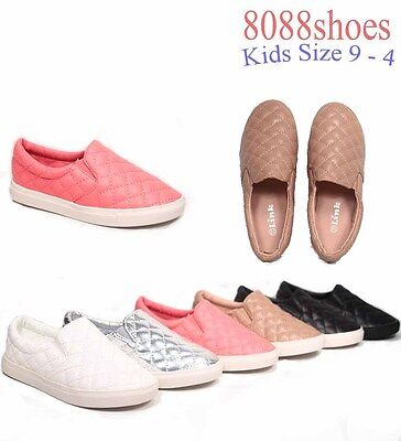 Youth Girls Kids Causal Slip On Flat Round Toe Quilted Sneaker Shoes 9 - 4 NEW