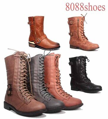 Women's Round Toe Low Heel Combat Military Lace Up Mid Calf