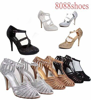 Women's Sexy Glitter Buckle Strappy Close Toe Heels Pump Shoes Size  5 - 10  -