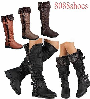 Cuff Flat Boot (Women's Winter Warm Faux Fur Flat Cuff Knee High Boot Shoes Size 6 - 10 NEW)