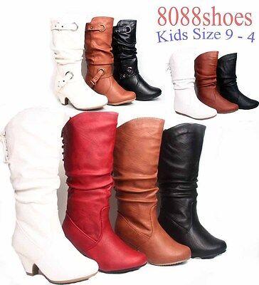 Girls' Kids Cute Low Heel Zipper Buckle Lace Causal Dress Boot Shoes Size 9 - 4