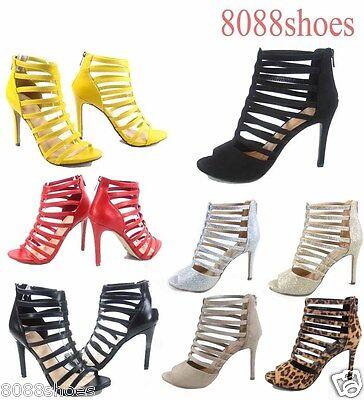Women's Sexy Zipper Open Toe Strappy High Heel Sandal Shoes Size 5.5 - 11 -