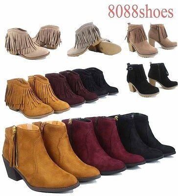 Women's Round Toe Fringe Zipper Low Heel Western Ankle Booties Size 5.5 - 11 NEW