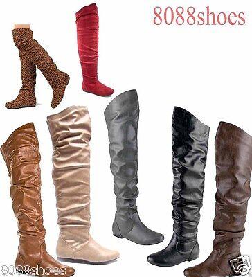 Low Heel Thigh High Boot - Women's Comfort  Round Toe Flat Low Heel Slouchy Thigh High Boot Shoes 5 - 11